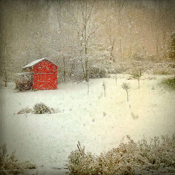 Red Barn in Snow, 5x5 Card with Envelope