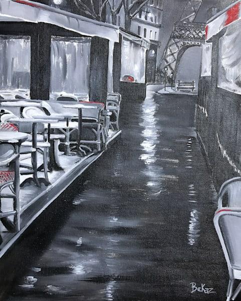 Cafe Street Paris Eiffel Tower Painting Rain Reflection