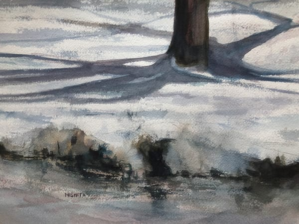 Shadows on Snow | Watercolor Painting | Artist Nishita Jain