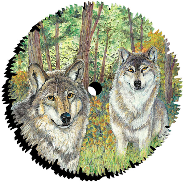 """""""Early Fall Wolves"""" cut out print by Sue Zabel."""