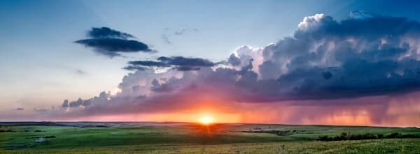 Storms Over the Prairie - Color: The Olson Place: Storm in the West, fine art color photograph by artist and photographer, David Zlotky