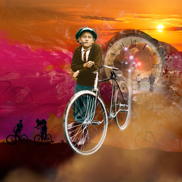 Bicycle, The Bicyclist, Vintage photo, Photo Collage