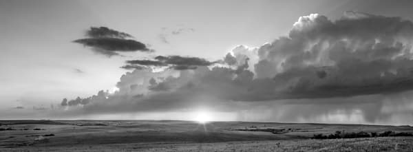 Panoramas, the wide view - BW, This is a beautiful fine art photograph by David Zlotky titled: The Olson Place: Storm in the West.