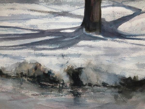 Shadows on Snow | Original Watercolor Painting for Sale | Artist Nishita Jain