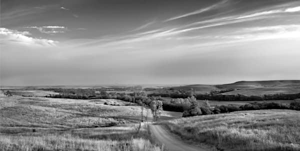 Luminous light-bw: Sleepy Sunday Morning, a fine art black and white photograph, by David Zlotky,  of an early morning vista in the Kansas Flint Hills.