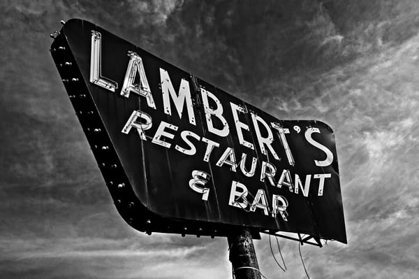 Lambert s Restaurant and bar neon sign-bw-enlarged