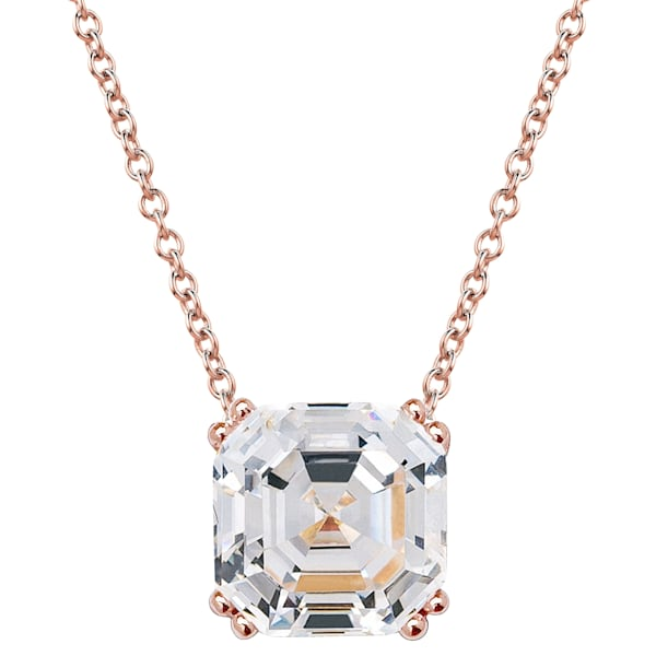 Rose Gold Regal 2 Carat Solitaire Asscher Cut Necklace by Wilkening