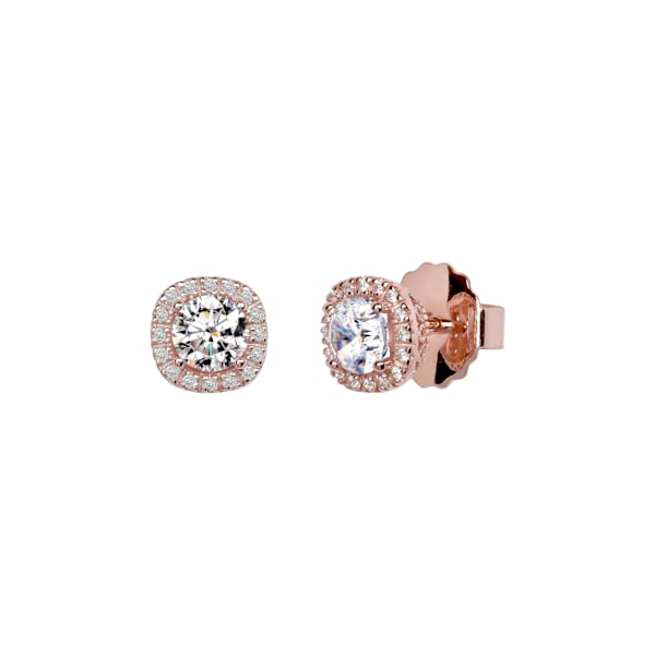 18 KGP Rose Gold 1.5 Carat Cushion Cut Studs with Ornate Side by Wilkening