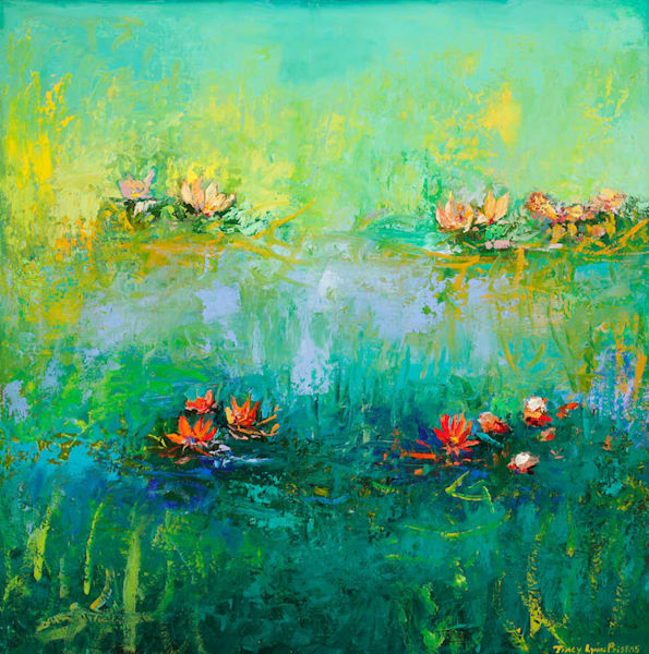 Bright Colored Lotus Oil Painting