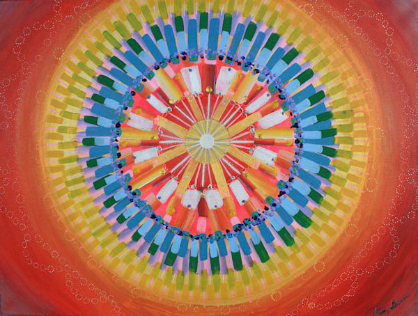Mandala Energy Bright Orange Painting