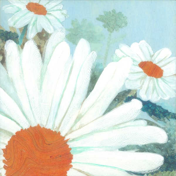 Daisy Field #1 Collage Painting by Jenny Goring