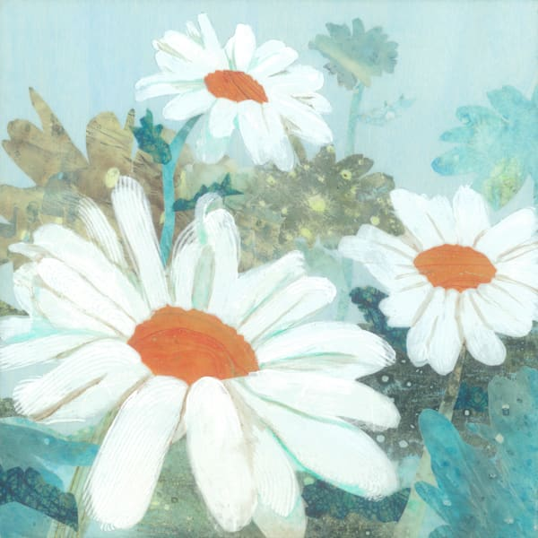Daisy Field #2 Collage Painting by Jenny Goring