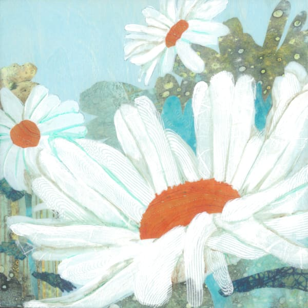 Daisy Field #3 Collage Painting by Jenny Goring