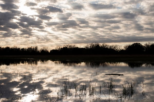 Texas Sunset Clouds Reflection, Damon, Texas