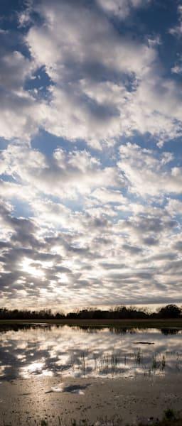 Texas Sunset Clouds Reflection Pano, Damon, Texas