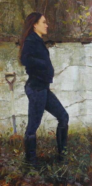 farm girl old wall canvas