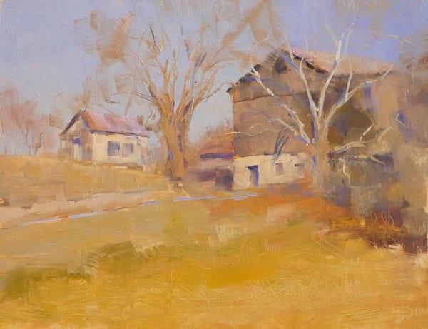 oil painting stone barn farm