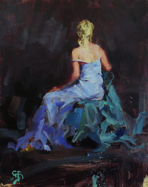 painting of model seated live