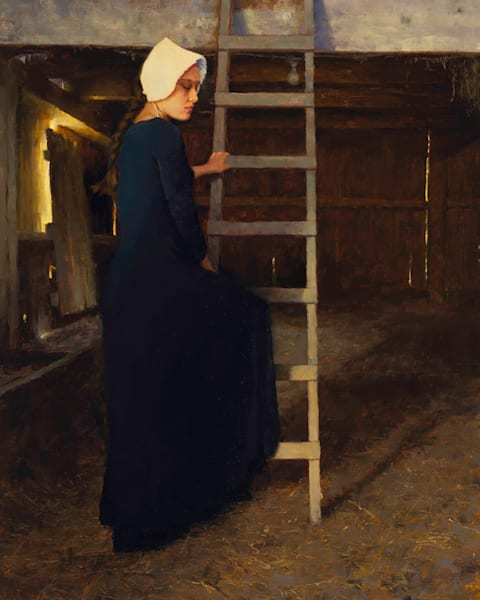 Amish quaker girl in barn painting