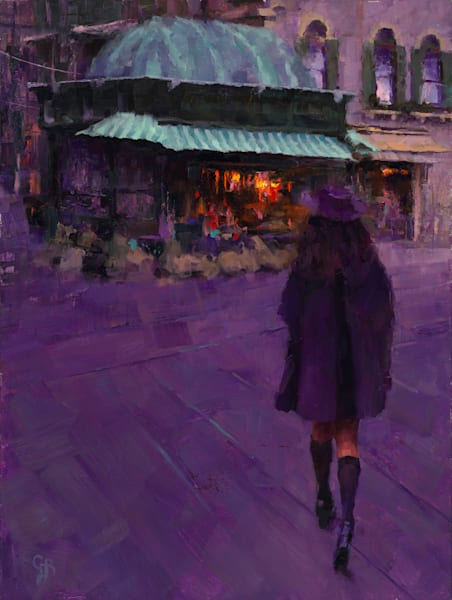 purple painting girl evening europe