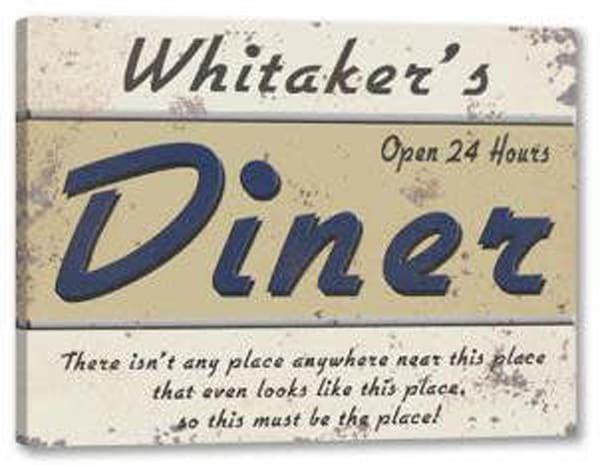 24 Hour Diner Canvas Sign | J Edgar Cool