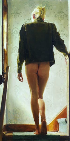 nude woman climbing stairs painting