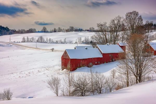 Barns at Jenne Farm in Winter by Rick Berk