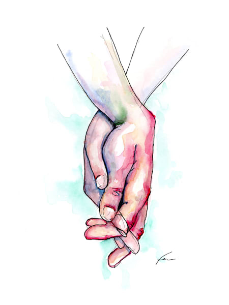 Holding Hands Study 6 Watercolor | Fer Caggiano Art