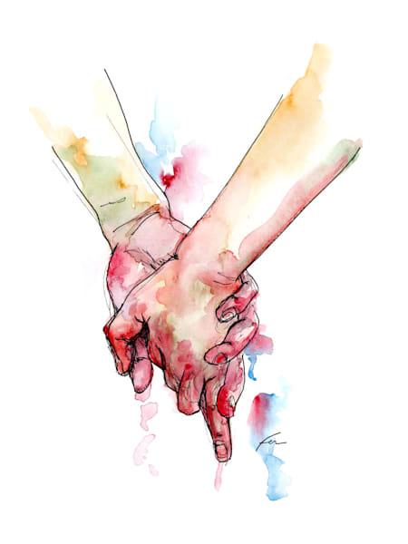 Holding Hands Study 7 Watercolor | Fer Caggiano Art
