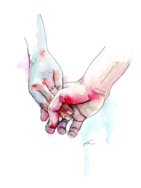 Holding Hands Study 8 Watercolor | Fer Caggiano Art
