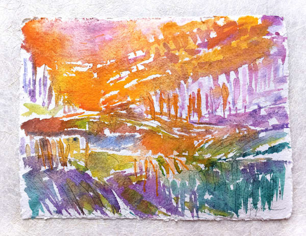 Abstract Watercolor Landscape by Dorothy Fagan, The Pond Within III