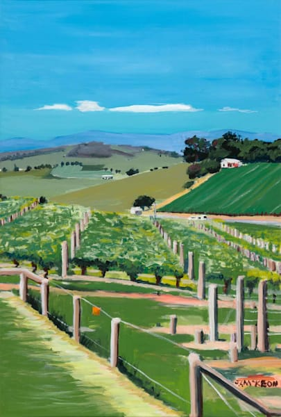 Yarra Valley vineyards, seen from Balgownie Estate, Victoria.