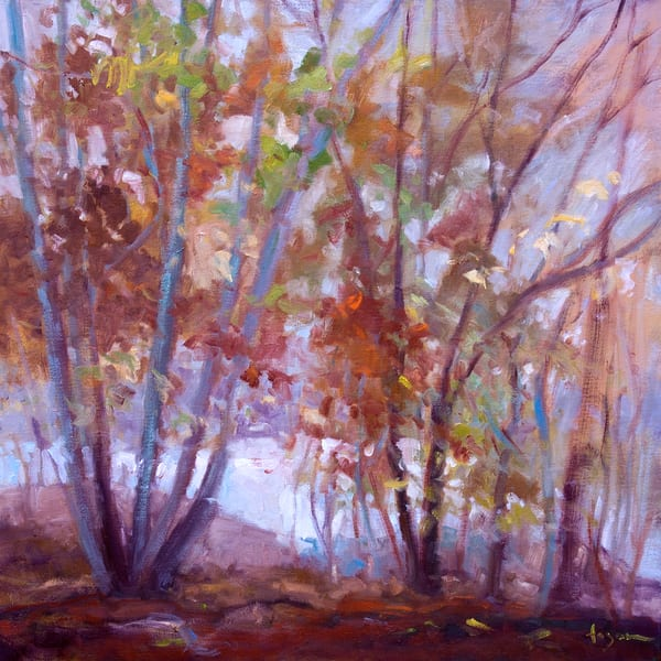 Abstract Autumn Trees Painting Art Print by Dorothy Fagan
