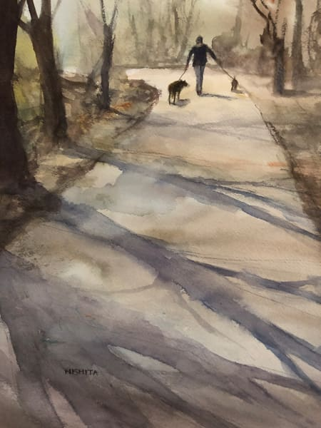 High-Resolution Print | Watercolor Painting | Walking the Dogs