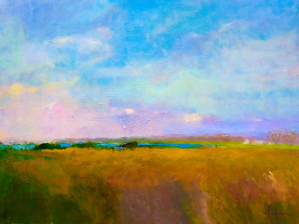 Beautiful Marsh Landscape Painting Art Print by Dorothy Fagan Silver Lining