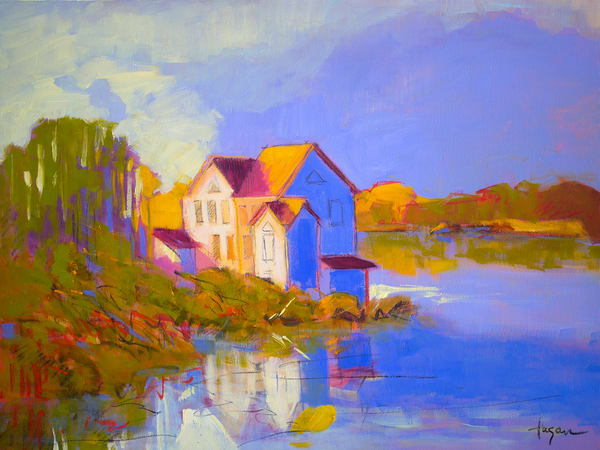 Coastal Cottage Art Print Painting by Dorothy Fagan