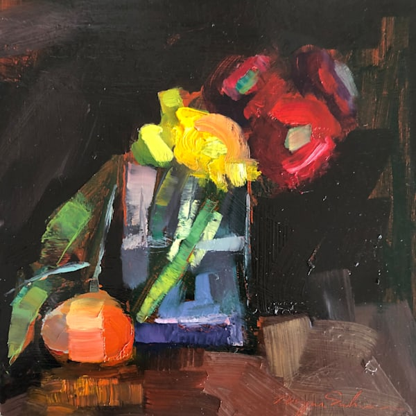 "Beautiful ""Magenta Gerbera Daisies Yellow  Ranunculus and  Mandarin Orange ""still life by Monique Sarkessian measures 10""x10"", oil on wood."