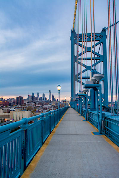 Philadelphia in the background of Ben Franklin Bridge on the way to Jersey