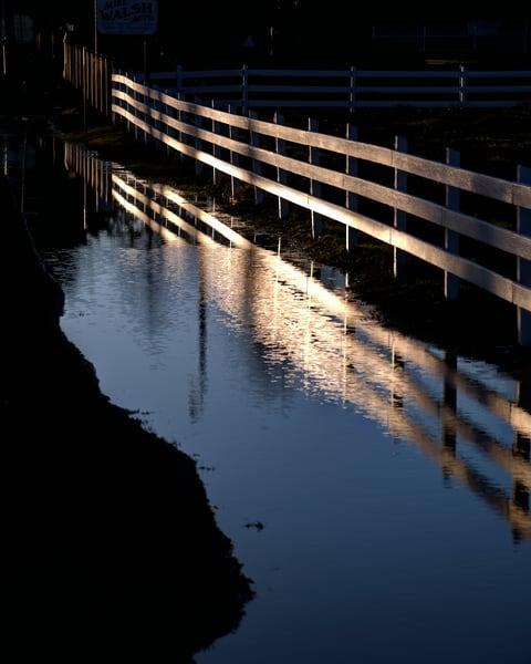 Sunrise Fence and Reflection 2