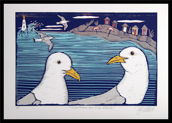 this linocut reduction by printmaker Mariann Johansen-Ellis is printed in an edition of only 9 prints. Seagulls and beach, art, paintings