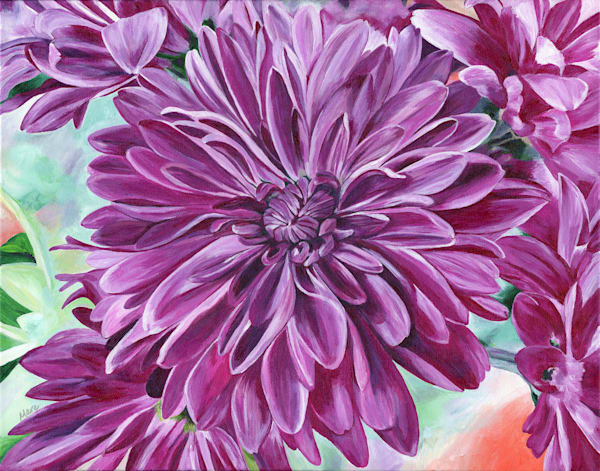 Original Artwork of 'Joyful Blooms'. An acrylic painting of a Chrysanthemum bouquet.