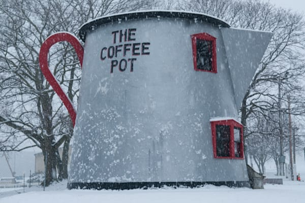 Famous Coffee Pot in Bedford, Pennsylvania covered in snow