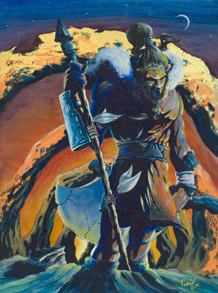 Iz the warrior acrylic on canvas original art work