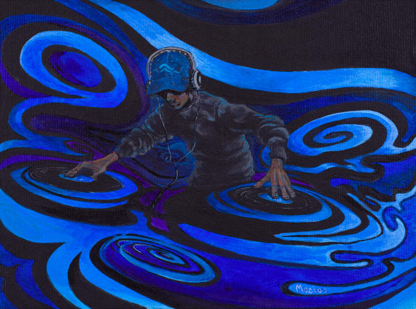 the-elements-dj-water-acrylic-painting-on-canvas-hip-hop-two-turn-tables