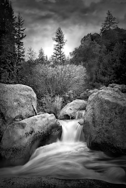 Serenity of Water Collection | Serenity. A black and white, fine art photograph, of a lovely little waterfall by David Zlotky.