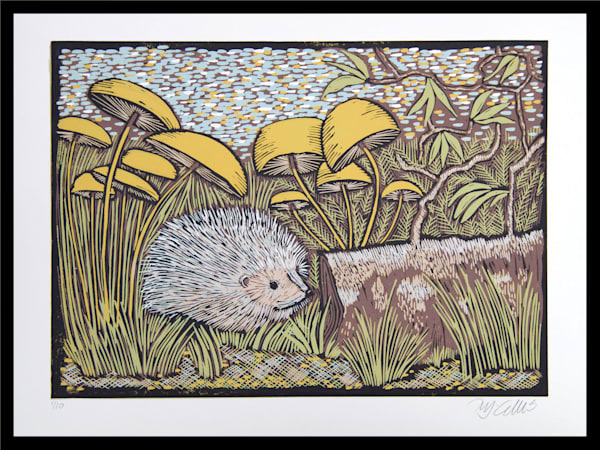 printmaker Mariann Johansen-Ellis makes lincuts with nature motifs, hedgehogs and mushrooms in a linocut reduction, limited edition art, art, paintings