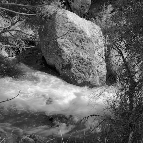 Luminous Light Collection -bw | Granite in the Stream - bw. David Zlotky's black and white,  fine art photograph of granite lit by the golden light of evening.