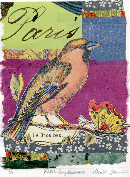 Petit Songbirds 10,  a memento of Paris, charming and whimsical ,  for sale by Ouida Touchon