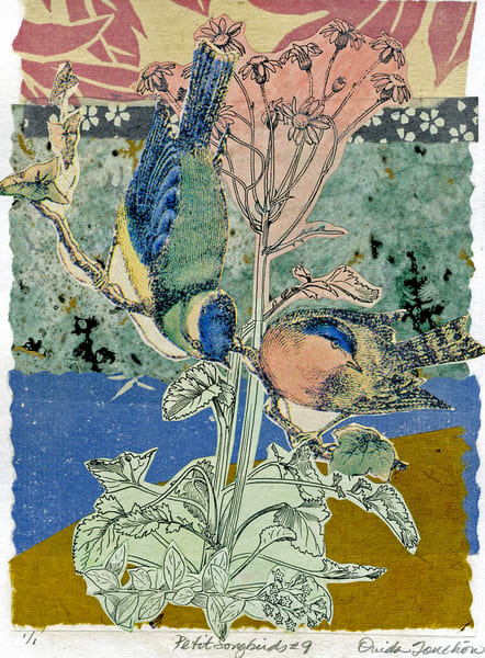 Petit Songbirds 9, a series of vintage songbirds in collage, for sale by artist Ouida Touchon