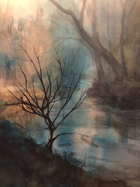 Original Watercolor for Sale | Last Glow | Artist Nishita Jain
